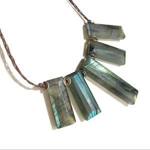 Labradorite Stone Necklace Semi Precious { Gift }